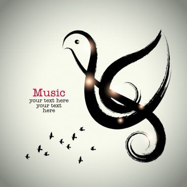 Grunge drawing black clef with brushwork and bird shape