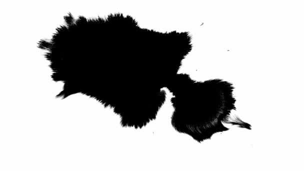 Schwarze Tinte ergießt sich auf weißes Papier und bildet schöne Schlieren. Schöne schwarze Aquarell Tinte Tropfen Übergang