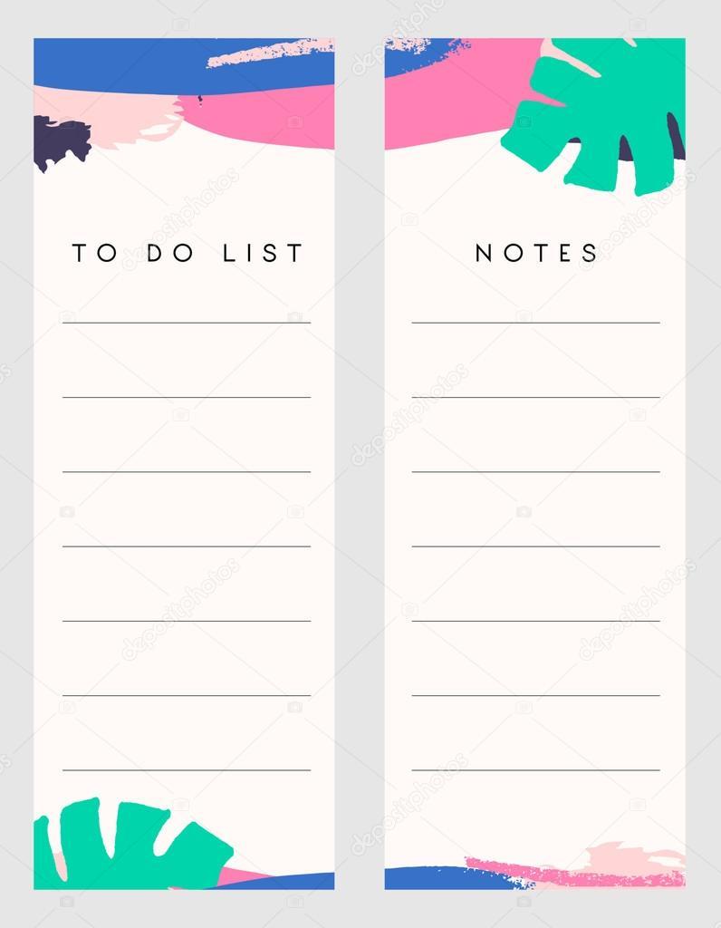 Notizen und Aufgabenliste Vorlagen — Stockvektor © ivaleks #123482678