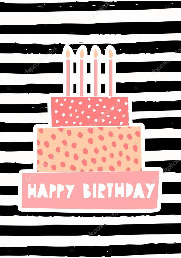 Birthday Cake Greeting Card Design Image Vectorielle Ivaleks