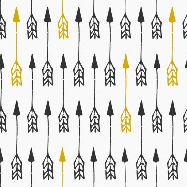 Hand drawn style arrows seamless pattern. Vintage abstract repeat pattern in black, golden and white. clip art vector