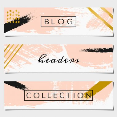 Abstract Brush Strokes Website Headers Collection