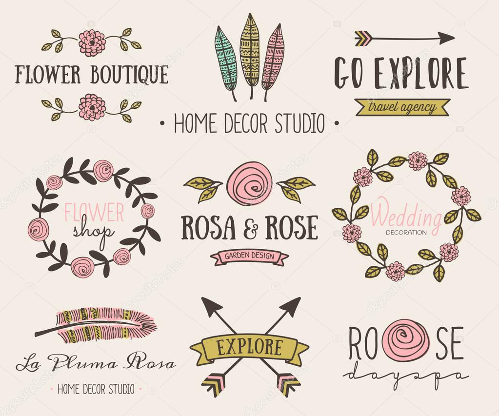 A set of hand drawn vintage style design elements. Modern and elegant premade typographic logo designs for florists, travel agencies, wedding and home decor. stock vector