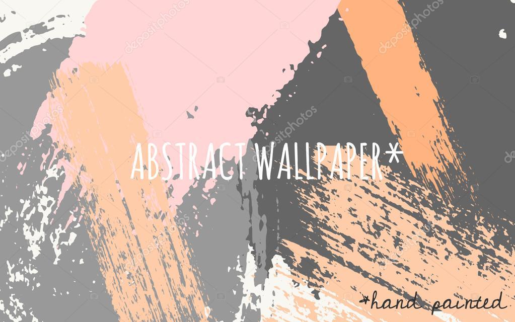Hand Drawn Brush Strokes Wallpaper Design Pastel Orange Pink Light And Dark Gray Color Palette Vector By Ivaleks