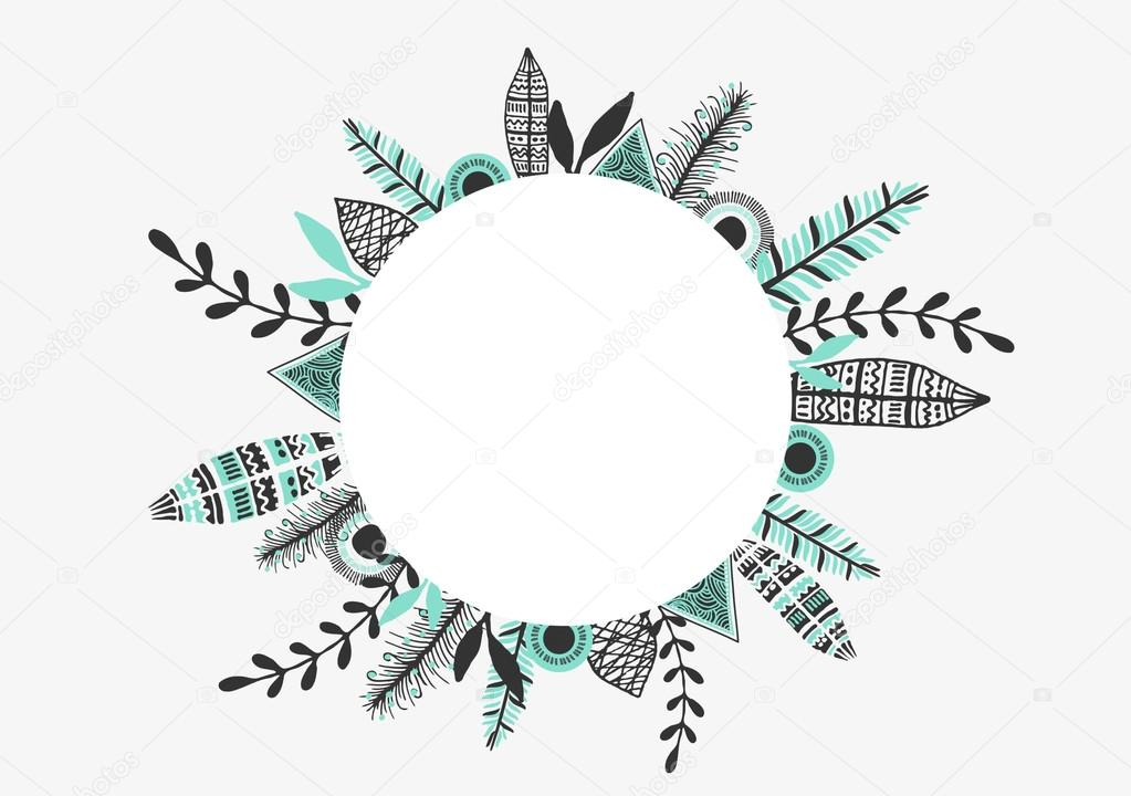Diseño de tarjeta de felicitación del marco tribal — Archivo ...