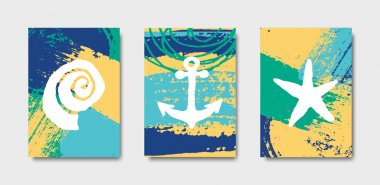 Hand Drawn Summer Design Cards Collection