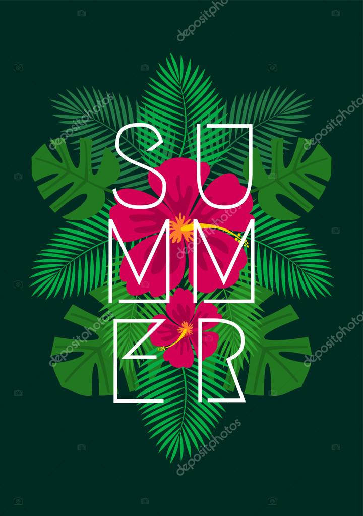 Hibiscus Flowers and Palm Leaves Design