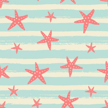 Hand Drawn Starfish Seamless Pattern