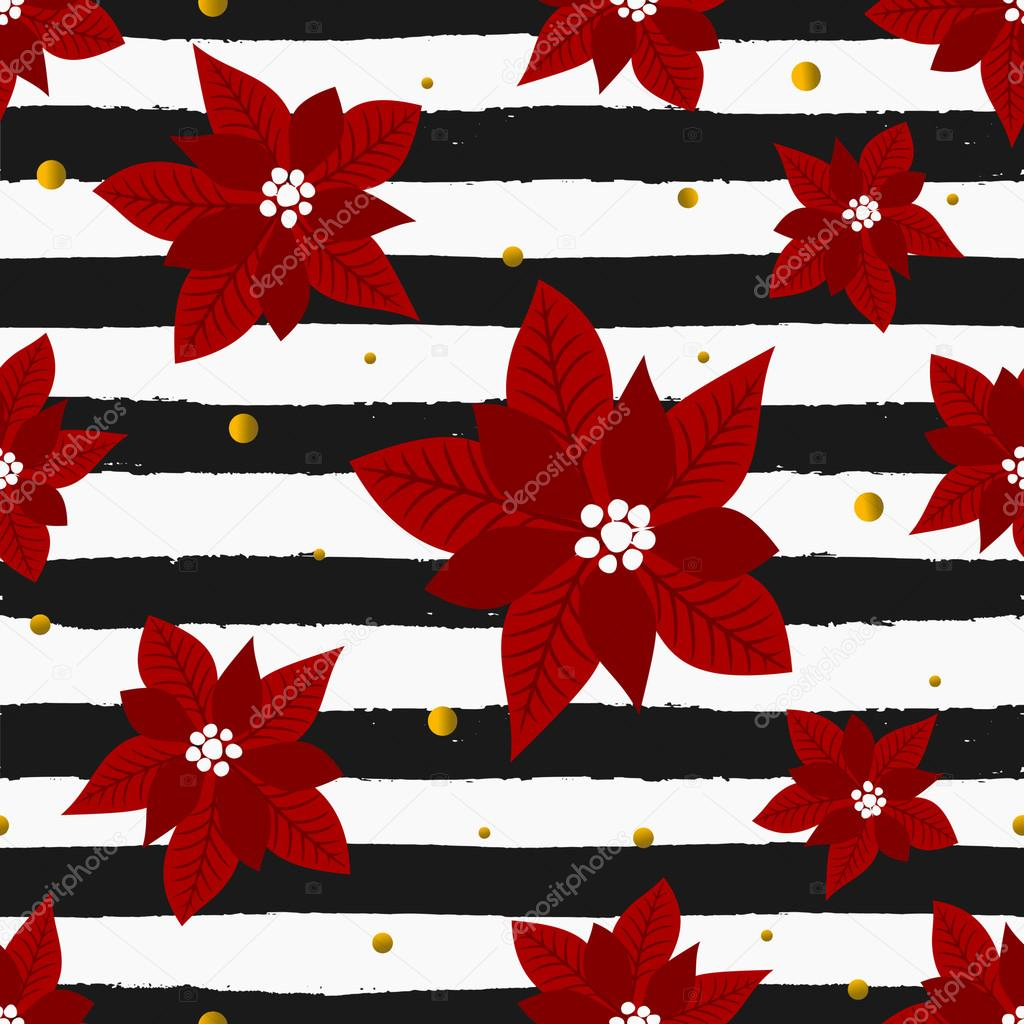 Red Poinsettias and Stripes Seamless Pattern