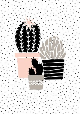 Hand Drawn Cactuses Poster