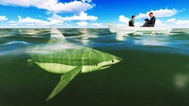 businessmen on boat with shark