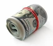 Rotolo di nuove banconote di dollari