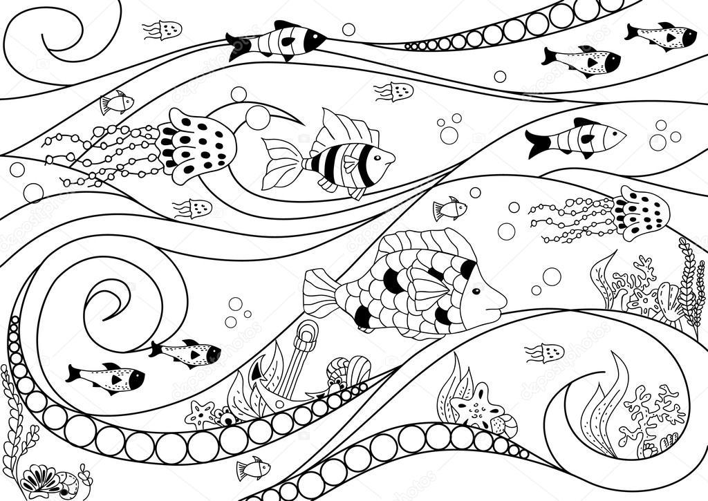 Página para colorear con vida submarina — Vector de stock © m ...