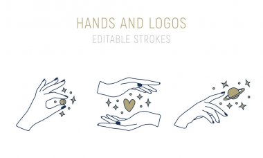 Hand holding a pair of hands, vector illustration icon