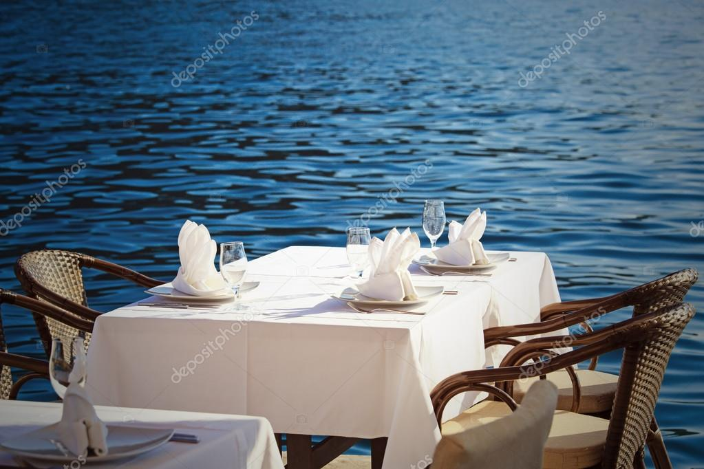 Scenic cafe table withe sea view