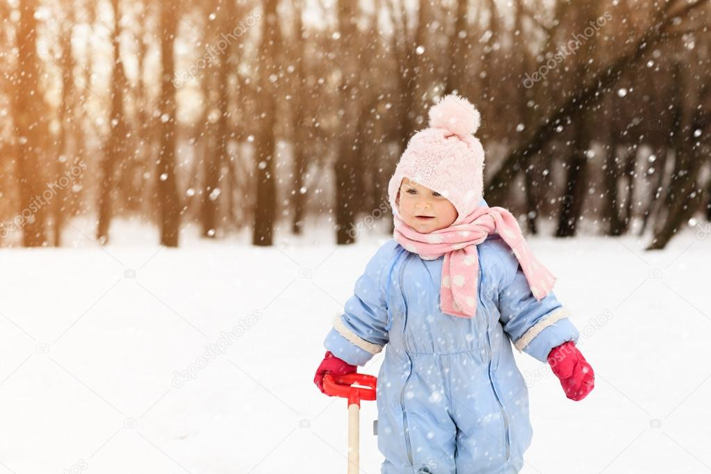 cute little toddler girl in winter