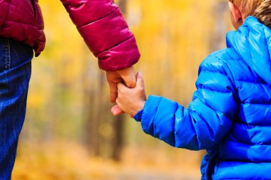 mother and little son holding hands in autumn