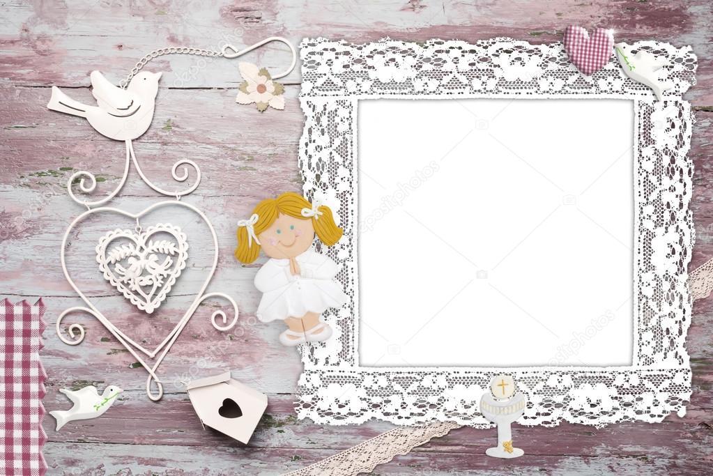 Primera comunión foto marco tarjeta chica rubia y — Foto de stock ...