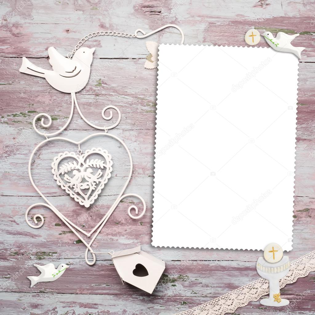 Tarjeta de marco de foto vertical de primera comunión — Fotos de ...