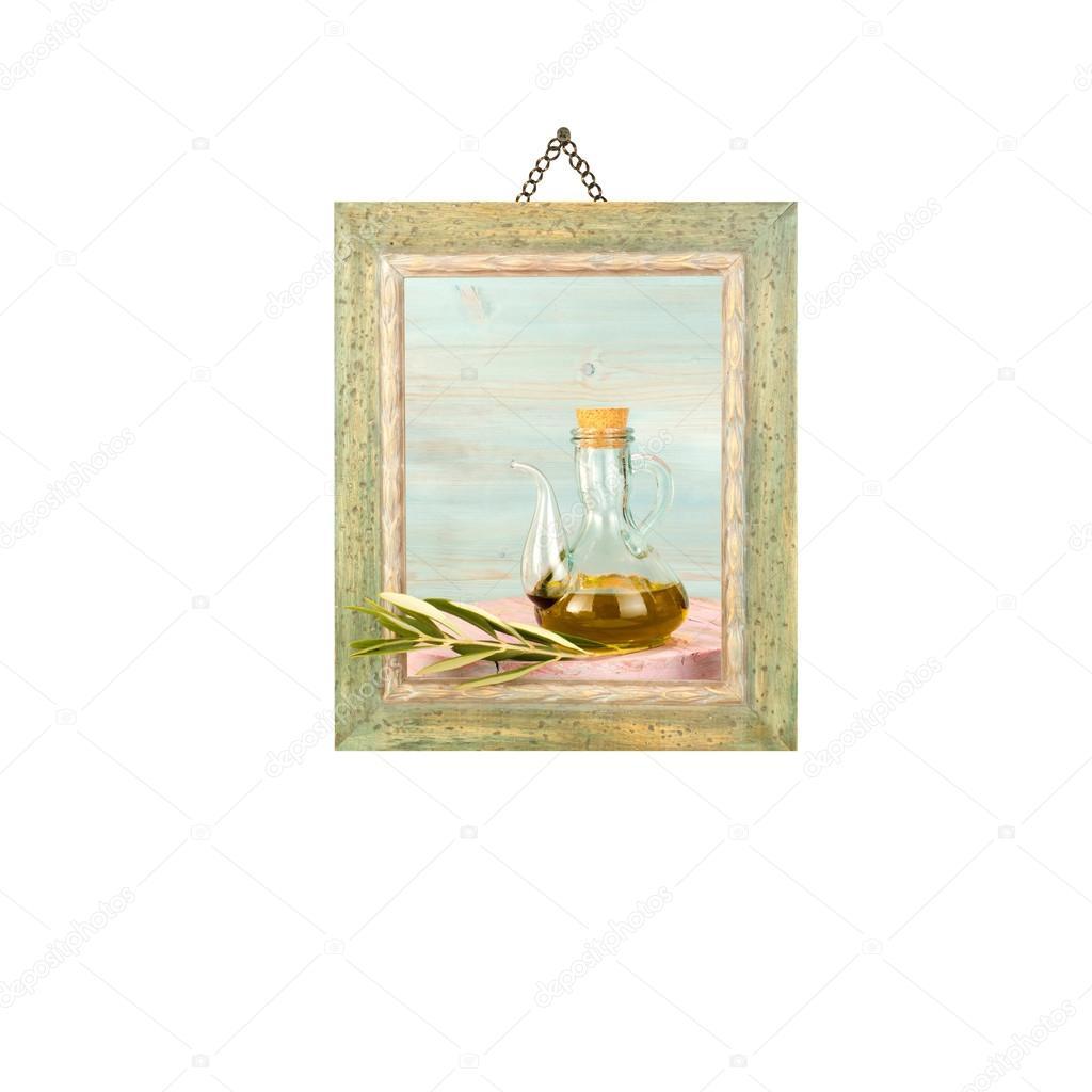 Aceite de oliva virgen, cuadro colgante aislado — Fotos de Stock ...