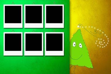 Christmas card with six photo frames