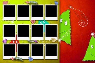 Christmas greeting card twelve photo frames