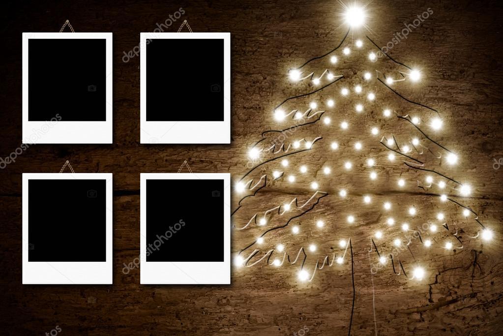 Vier leere Bilderrahmen, rustikale Weihnachtskarte — Stockfoto ...