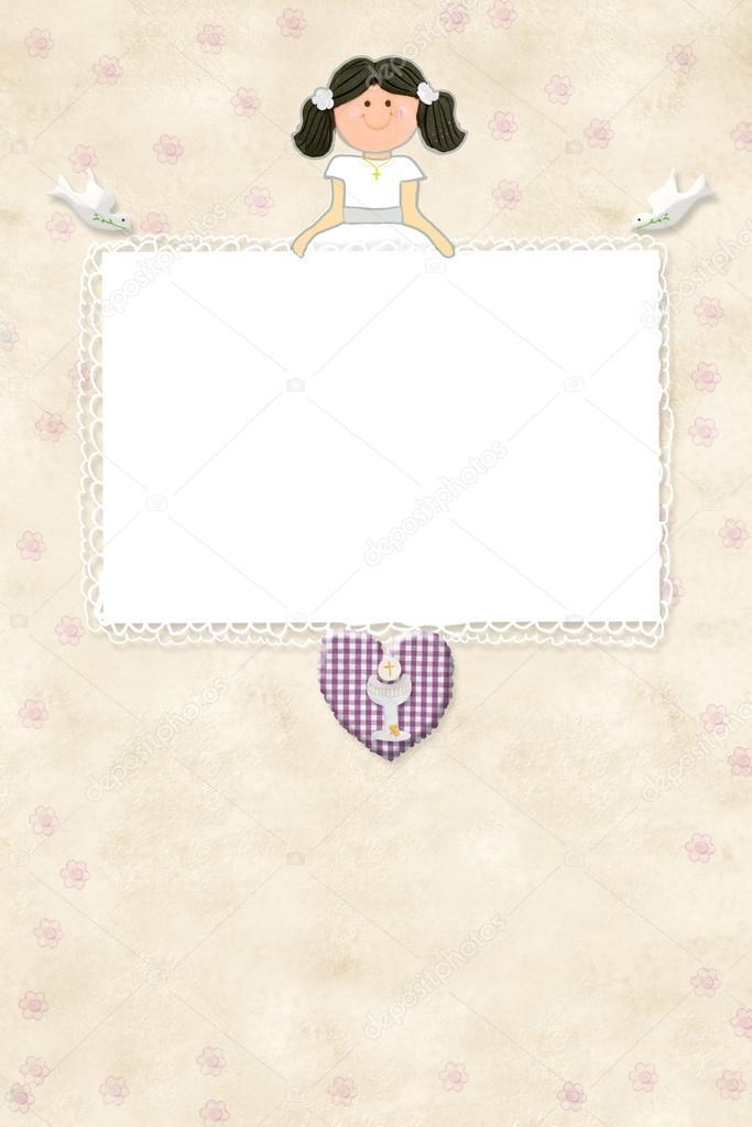 Kommunion Karte Schreiben.Erste Kommunion Einladung Karte Braune Mädchen Stockfoto Risia