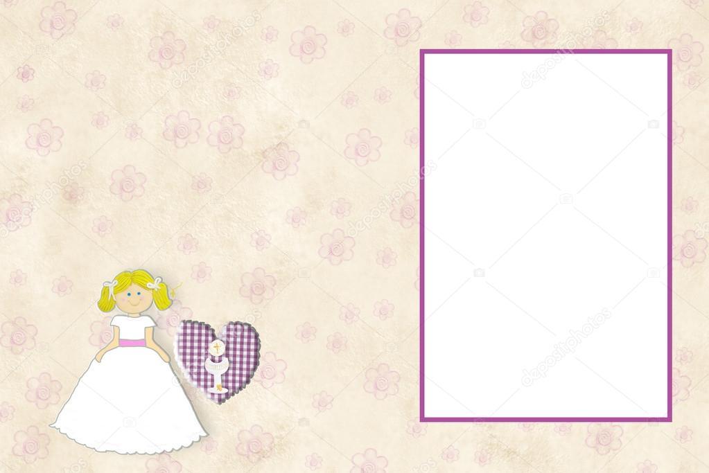 Primera chica rubia tarjeta de comunión invitación — Foto de stock ...