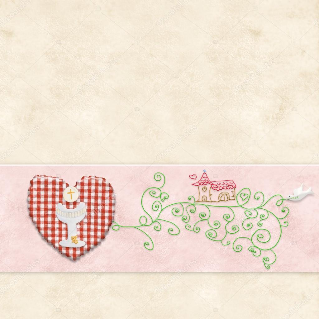 fd4c05e02e4 Primera invitación de comunión para niña — Fotos de Stock © Risia ...
