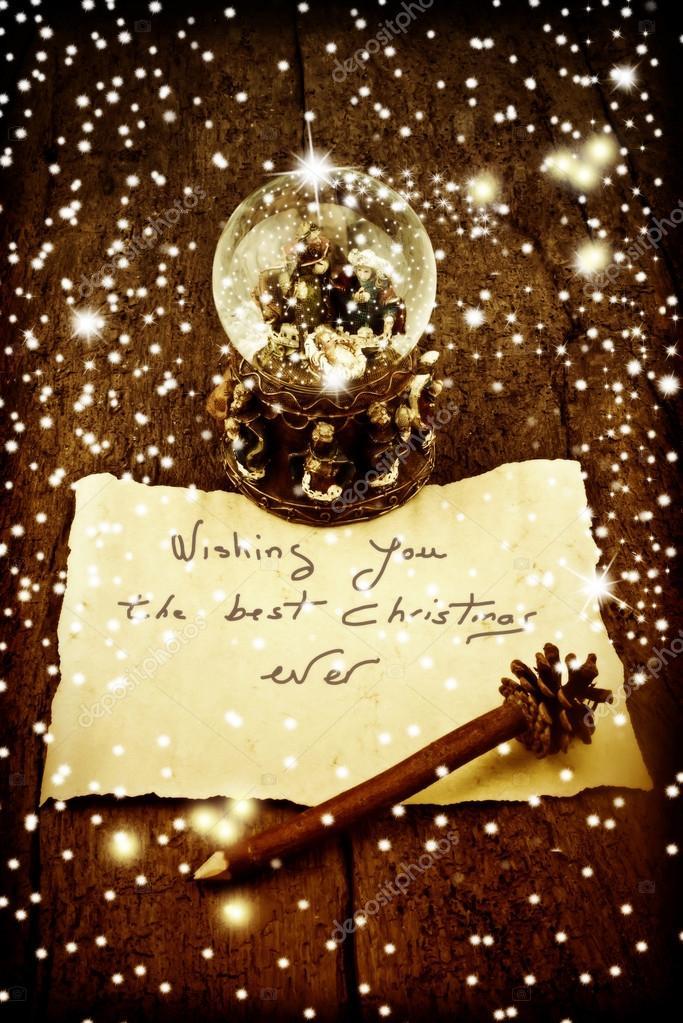 Weihnachtsgrüße Postkarte.Postkarte Weihnachtsgrüße Stockfoto Risia 89043002