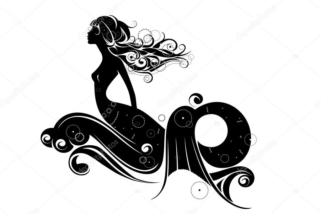 a mermaid silhouette isolated on a white background vector by svitlana
