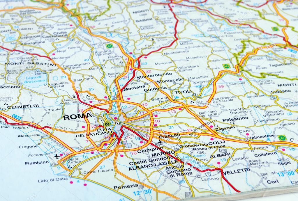 close up of an italian road map showing rome photo by ilposeidone