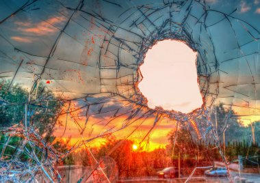 broken glass in hdr