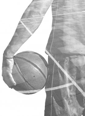 double exposure of a basketball player and field in black and wh