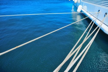 yacht ropes and hull in Porto Cervo harbor
