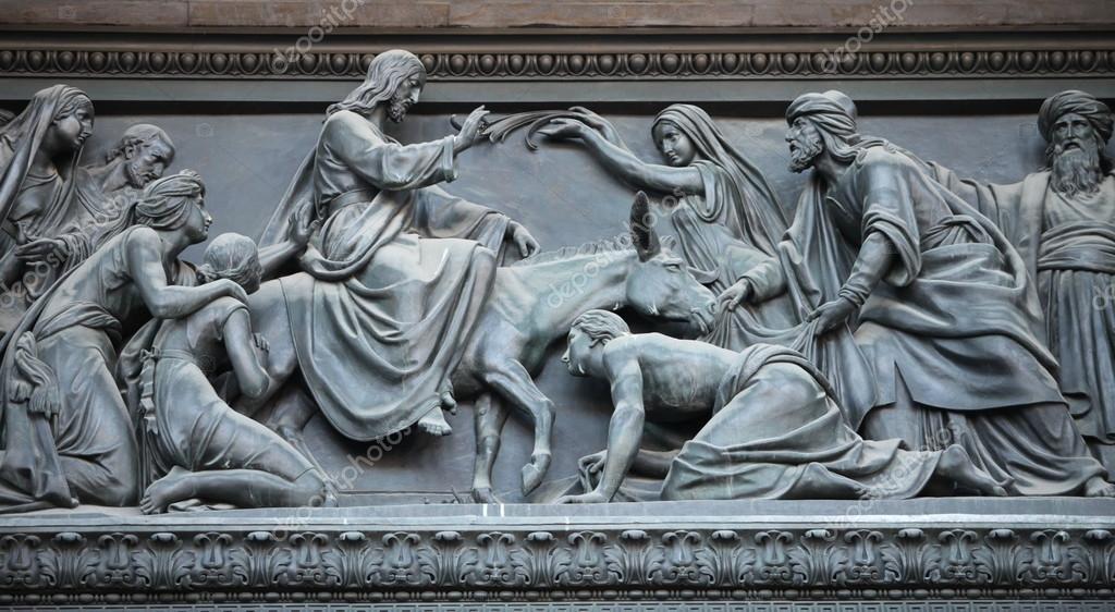Jezus van binnenkomst in jeruzalem u stockfoto mrivserg