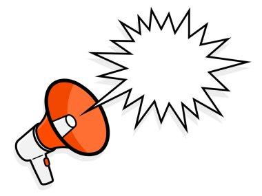 Cartoon megaphone with spiky speech bubble
