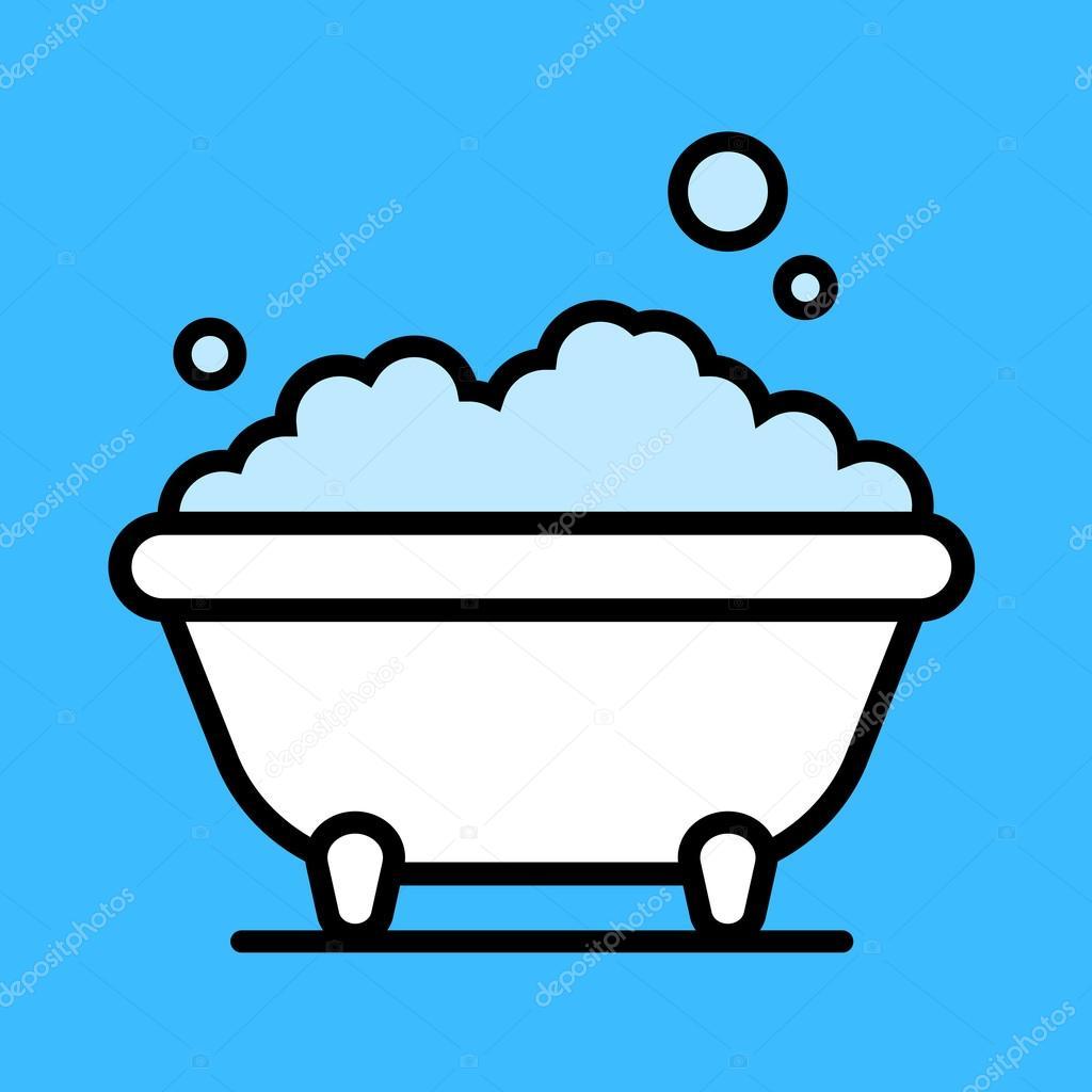 Baignoire de dessin anim mignon avec un bain bulles image vectorielle 1 - Email de baignoire abime ...
