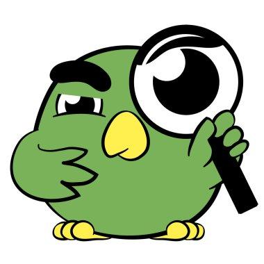 Cute little cartoon bird with a magnifying glass