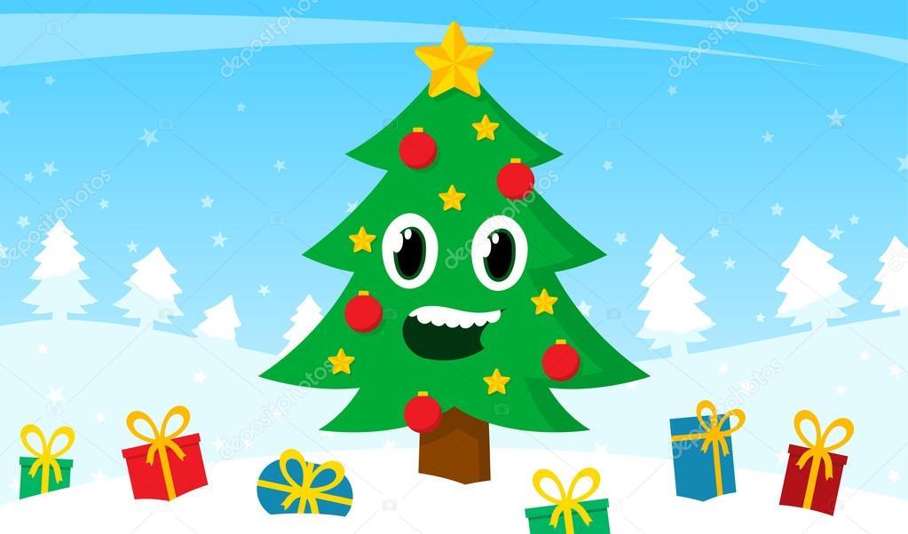 Rbol de navidad de dibujos animados feliz con regalos - Arbol de navidad con regalos ...