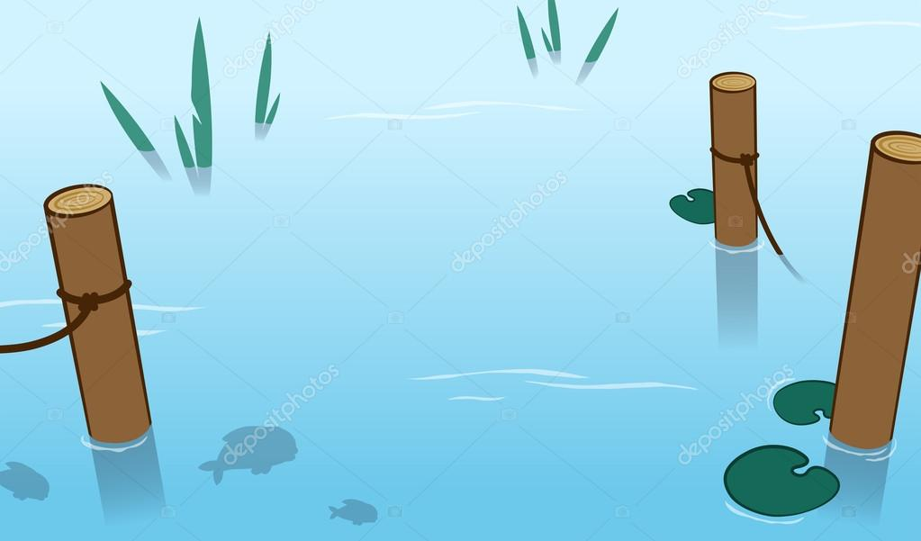 Background of water in a pond with mooring poles
