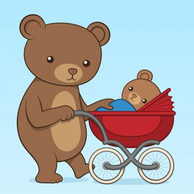 Mother bear pushing her cub in a buggy