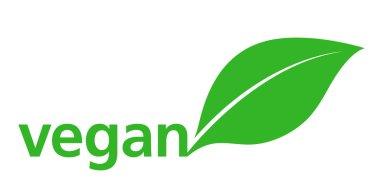 Vegan Logo with a single fresh green leaf