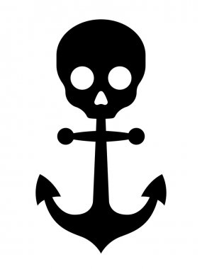 Black anchor icon with skull symbol