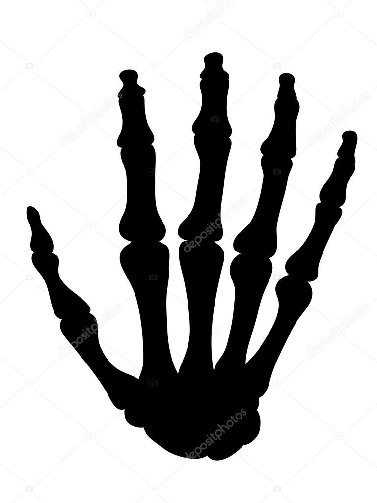 Silueta negra de los huesos de la mano — Archivo Imágenes ...