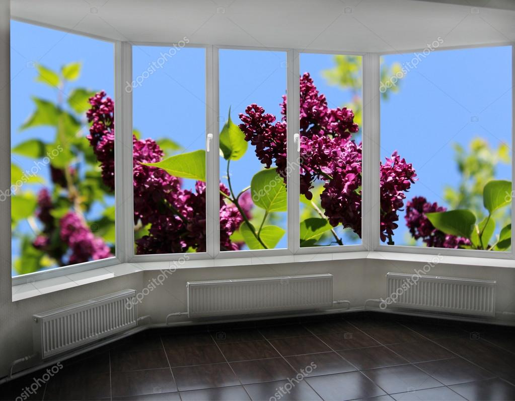 windows overlook the bush of lilac