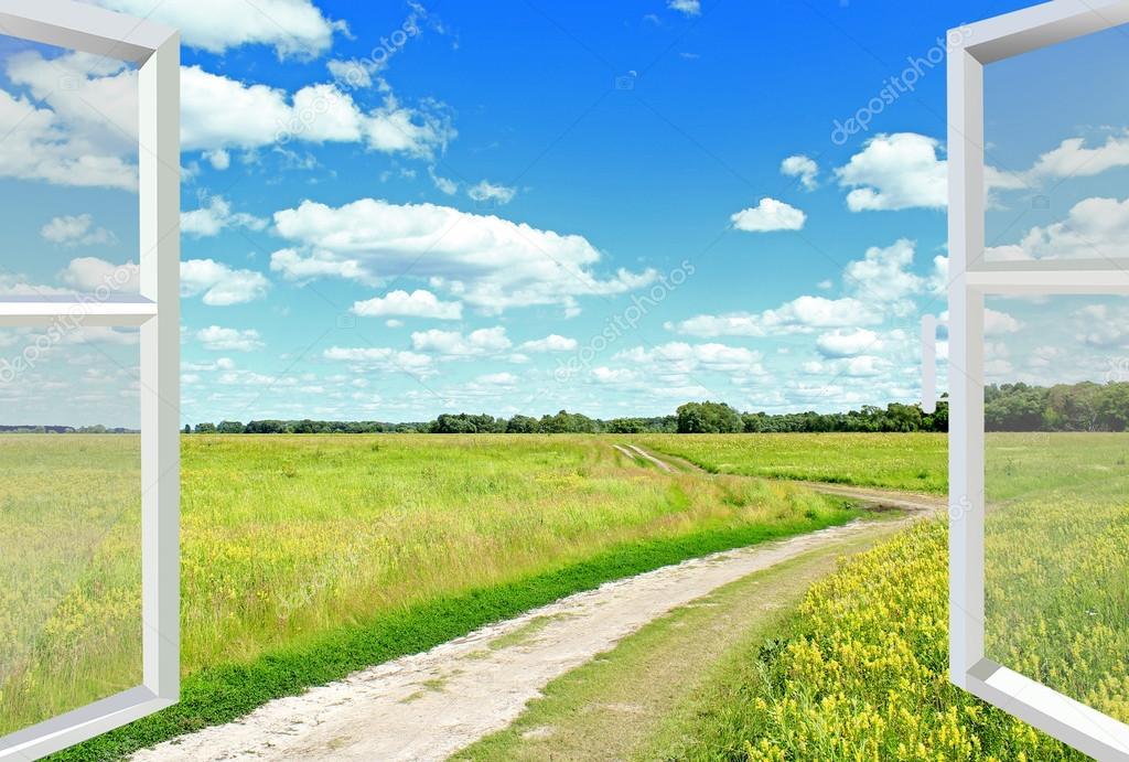 Blick aus dem fenster wolken wiese und country road stockfoto alexmak72427 114149728 - Blick aus dem fenster poster ...