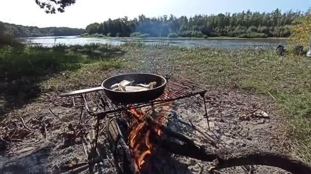 Fisch wird in der Pfanne am Fluss gebraten. Kochen von frisch gefangenem Fisch. Erfolgreiche Fischerei. Köstliche Fischgerichte auf dem Feuer gebraten. Gericht aus gebratenem Fisch, gekocht auf dem Feuer. Angenehme Erholung am Fluss