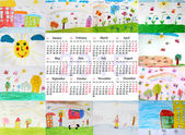 Photo calendar for 2015 year with childrens drawings